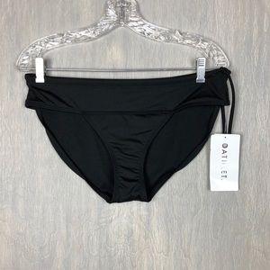 NWT Athleta Side tie bikini bottom black M